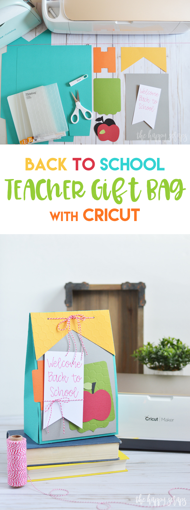 Any teacher would love to receive this Back to School Teacher Gift Bag made with the Cricut! Fill it up with some supplies or their favorite treats!
