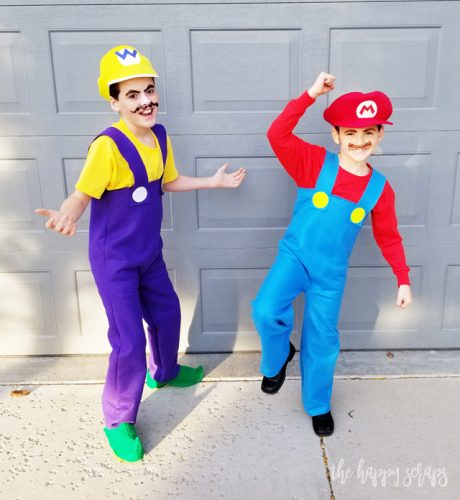 DIY Super Mario Brothers Costumes - The Happy Scraps Wario And Waluigi Costumes