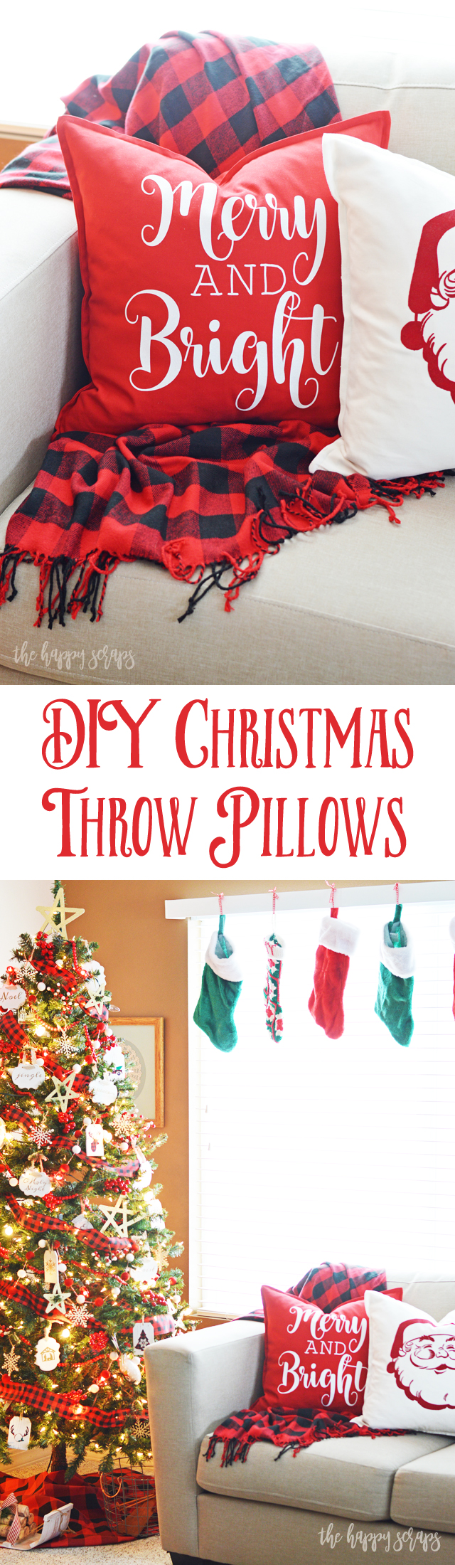 These DIY Christmas Throw Pillows are a quick and easy project that will have your home ready for Christmas in not time! Get the tutorial on the blog.