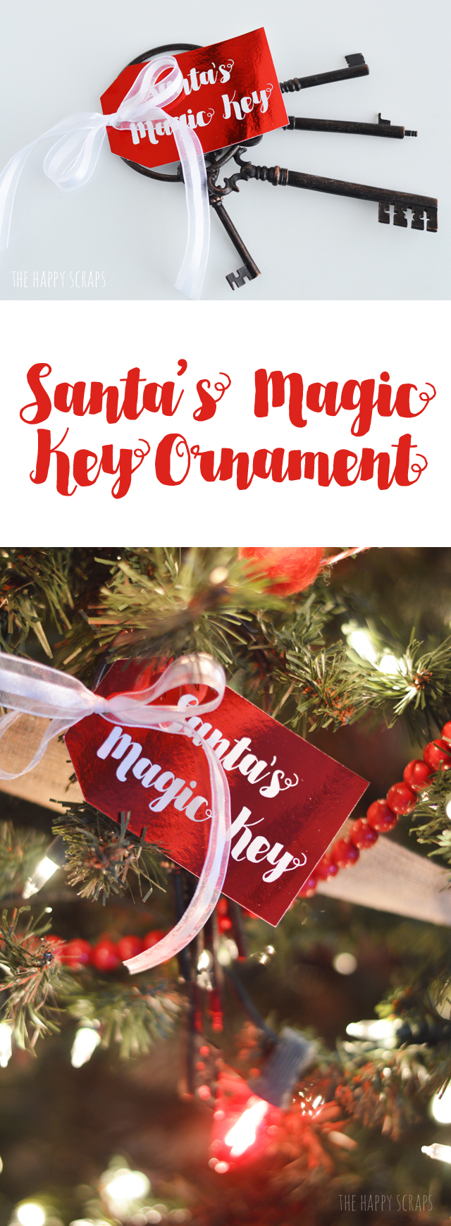 Create this Santa's Magic Key Ornament to add to your tree, or hang in your home. It's a fun project + Santa will need a key, if you don't have a chimney.