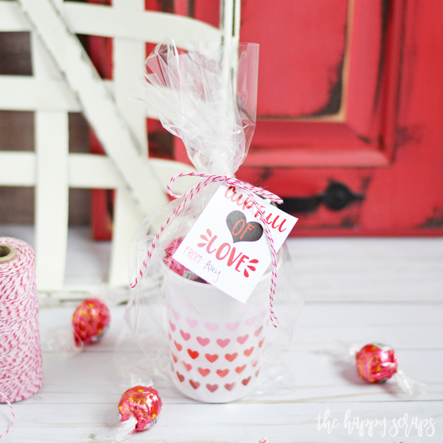 Anyone will love receiving this Cup Full of Love Valentine + Printable for Valentine's Day. Make them for friends, neighbors, kids or significant others.