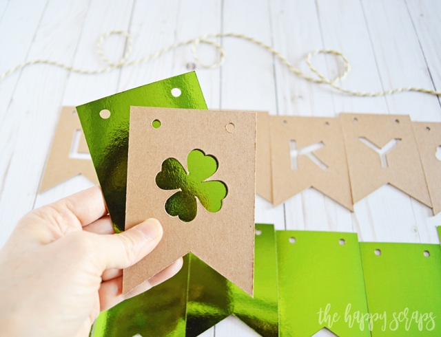 The Cricut Maker makes creating this Lucky St. Patrick's Day Banner simple. Grab your supplies + the cut file and you'll have this put together in no time!
