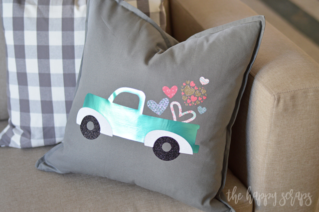 This DIY Valentine Truck Pillow is the perfect addition to your Valentine decor! It is a simple and fun project to create as well!