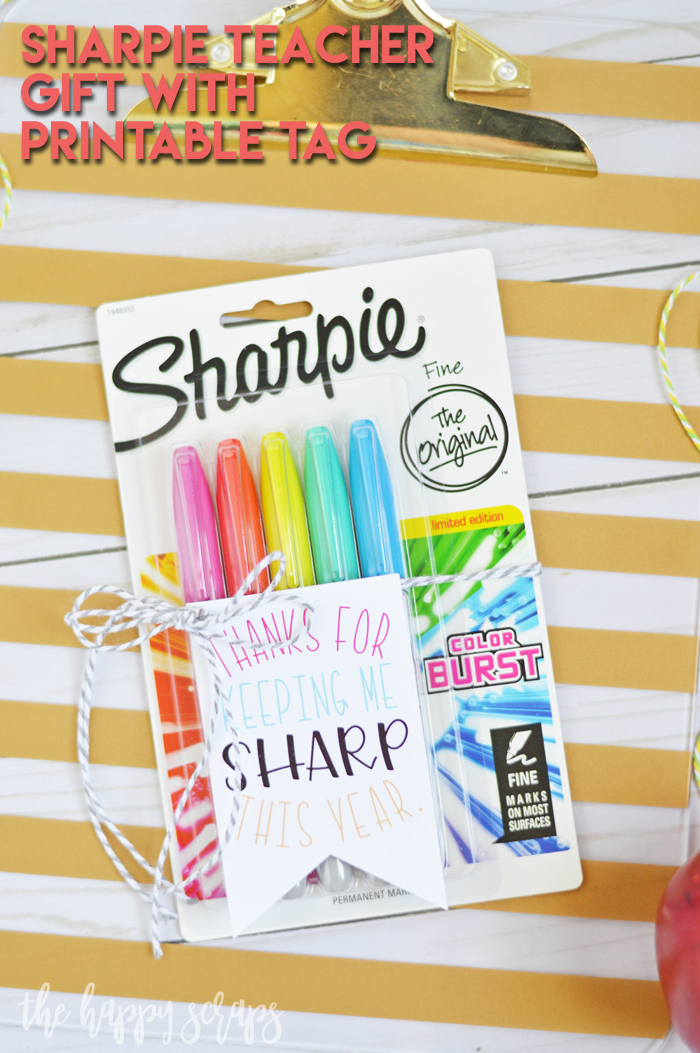 Grab a pack of Sharpie Markers and add this Tag to it for this simple Sharpie Teacher Gift with Printable Tag. You can have it put together in no time!
