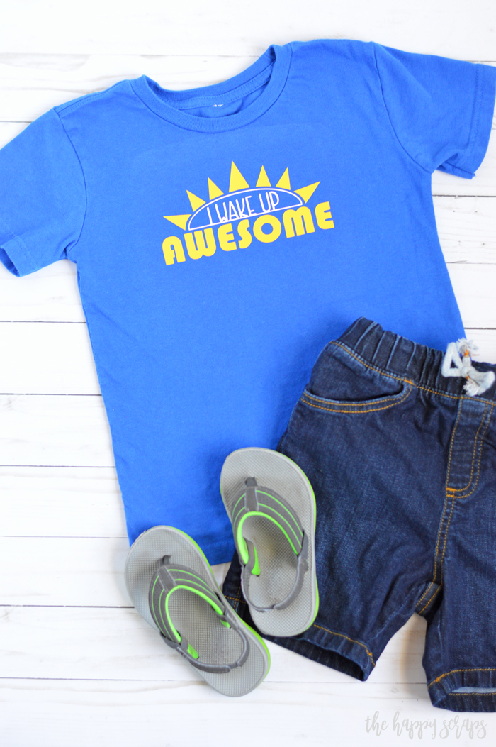 This I Wake Up Awesome Toddler Shirt is perfect for the little one that is up and going early everyday! Details to make it are on the blog.