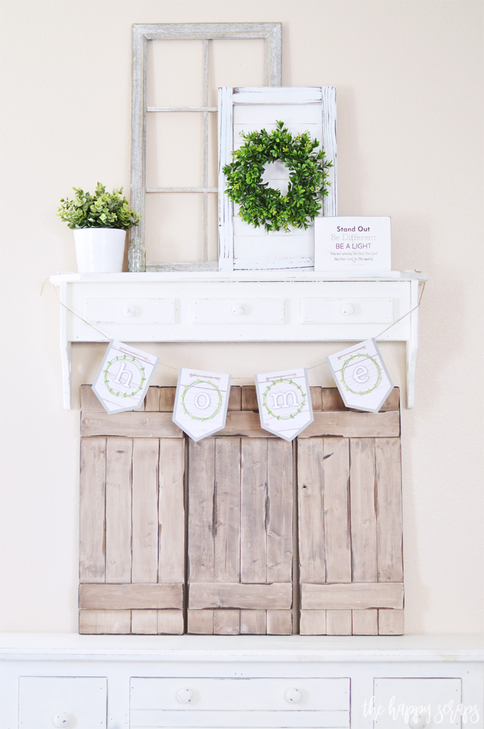 Create this beautiful Home Farmhouse Banner with a few supplies and simple tutorial. It's the perfect addition to nearly any space in your farmhouse.