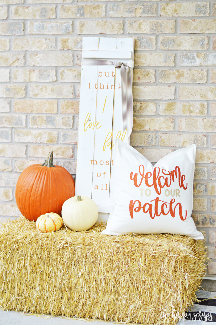 Whether you need a Fall Throw Pillow for your front porch or inside your home, this is it! Find the details for this Welcome to our Patch pillow on the blog.