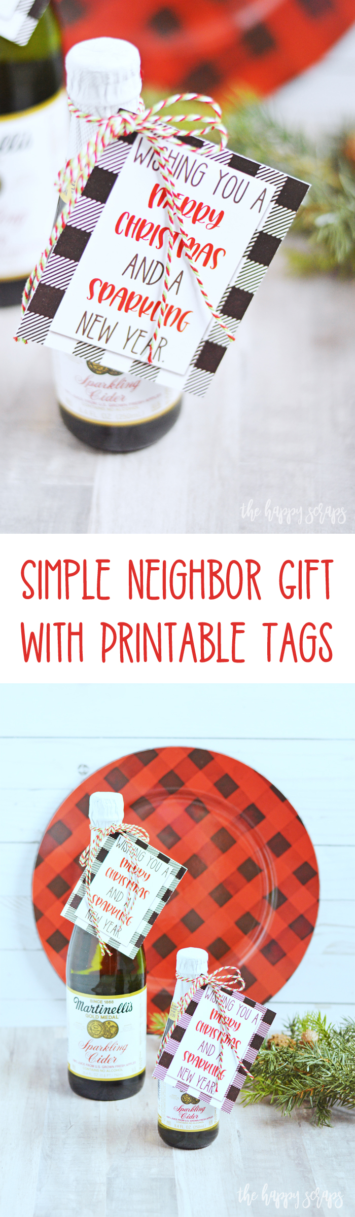 These Simple Neighbor Gift with Printable Tags are simple to put together + let your friends and neighbors know you're thinking of them this holiday season.