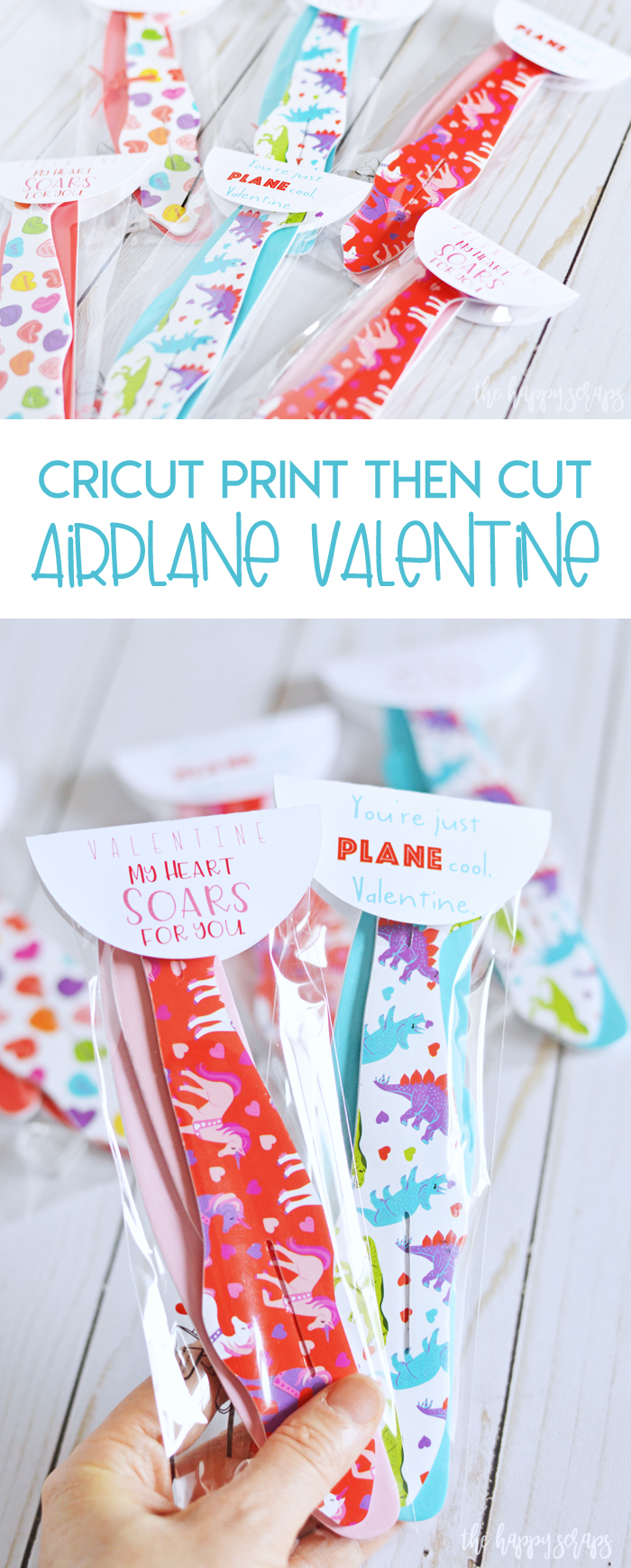 These Cricut Print then Cut Airplane Valentines will be the hit of the classroom party! Get the printable cut file on the blog.