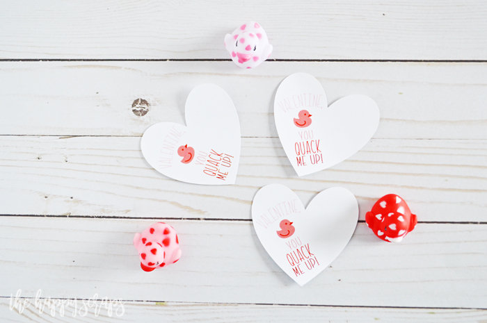 Cricut Print then Cut Duck Valentine - Die Cut hearts