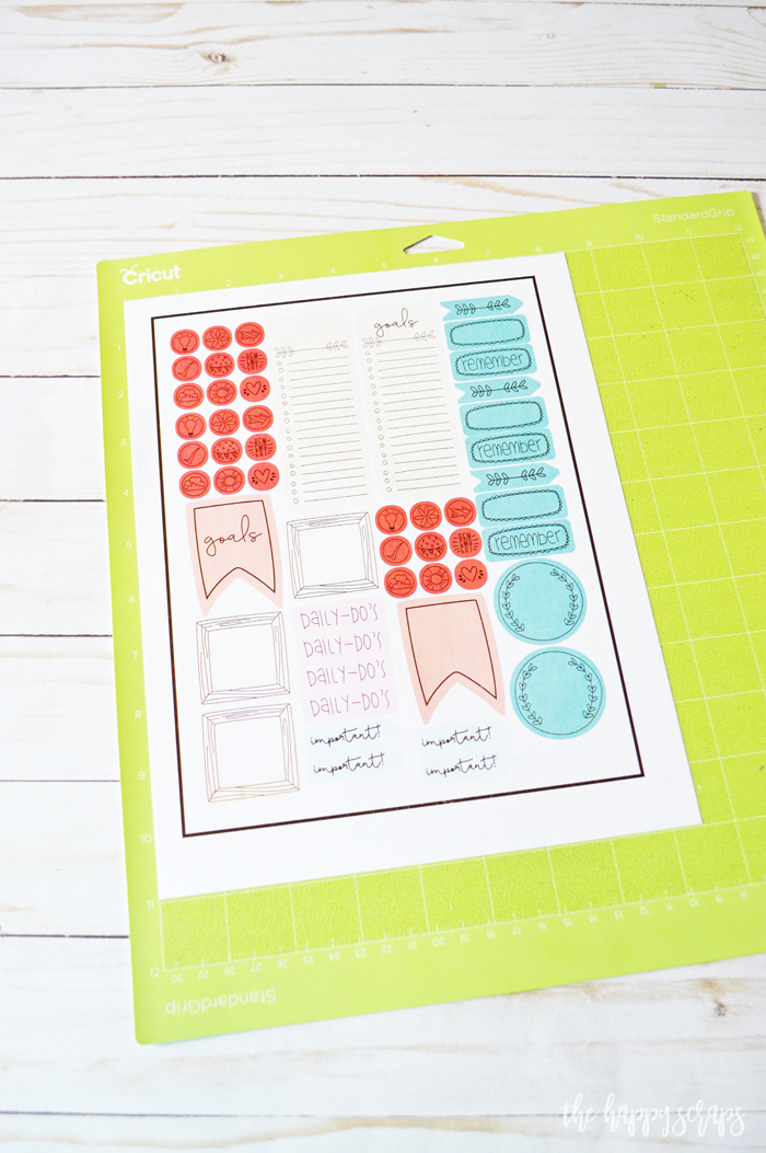 Cricut Print then Cut Happy Planner Stickers - Printed sticker paper on mat