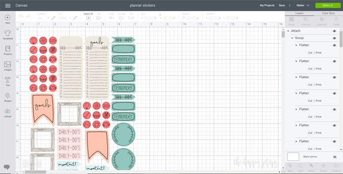 Cricut Print then Cut Happy Planner Stickers - Design Space