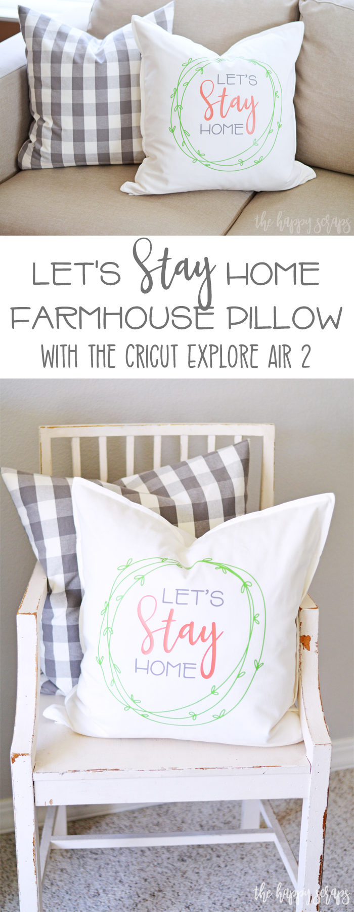 This Let's Stay Home Farmhouse Pillow is the perfect addition to any home! Customize the colors to match your home and have it made in no time!