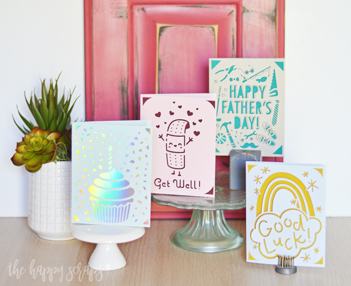 Cards made with the Cricut Joy + insert cards.