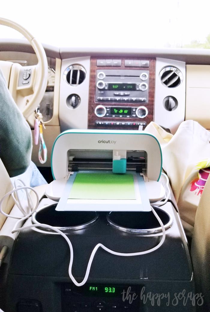 Using the Cricut Joy in the car.