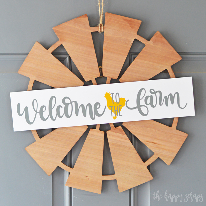 Finished Welcome to the Farm Front Door Decor Sign